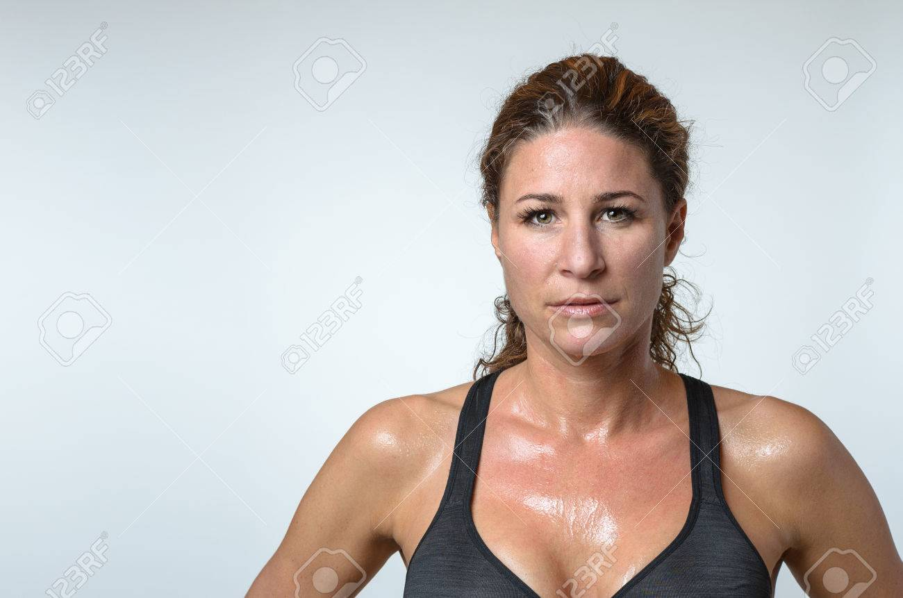 Sweaty attractive athletic young woman